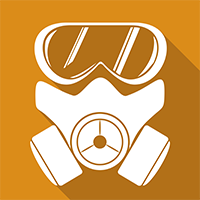 A orange square with a picture of a respirator in the middle