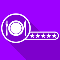 Purple Square with a picture within th esquare of a plate, knife and fork and five white stars in a line to the side of the plate