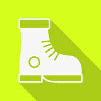 Lemon coloured square with a picture of a workers safetys white boot.