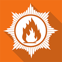 Orange square with a badge in the middle and a small white fire in the middle of the badge