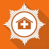 An orange square with a whit house in th emidle and a white medical cross in the middle of the white house