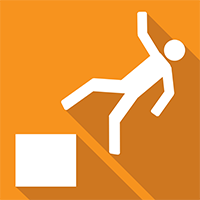 An orange square with a picture inside the square of a man falling off a box