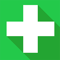 A green square with a medical white cross inside