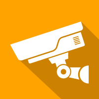 Orange square with a picture inside of a CCTV camera